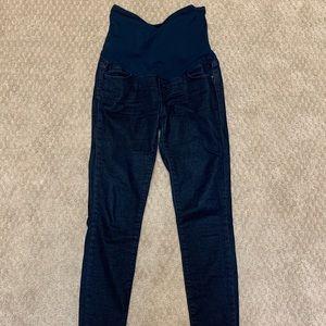 Dark wash maternity skinny jean leggings